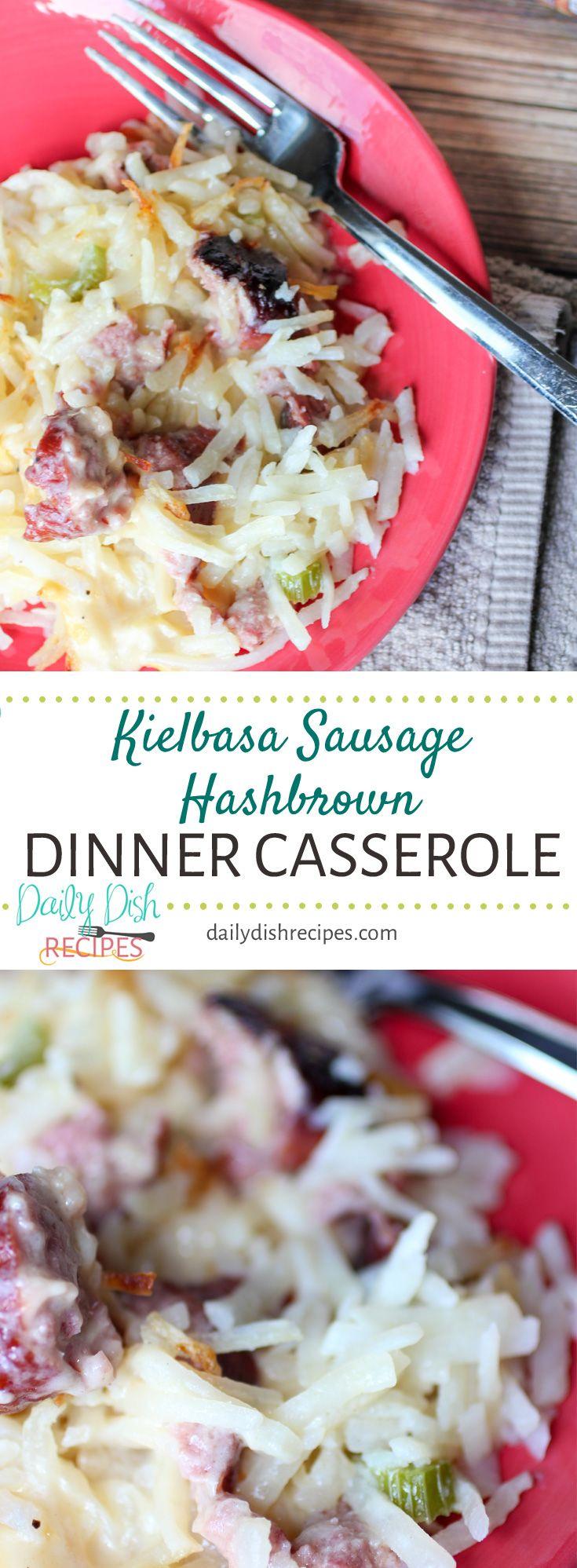 Kielbasa Sausage Hashbrown Dinner Casserole via @d…