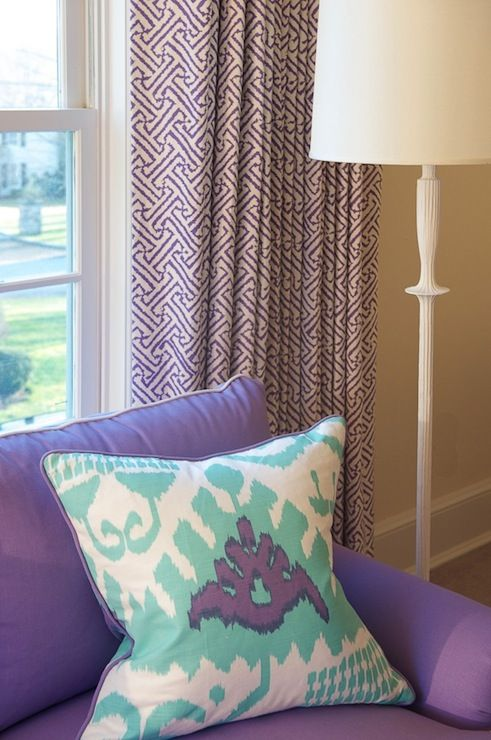 purple & turquoise girl's room with Quadrille fabrics // Kerry Hanson Design #purple #turquoise #fabrics