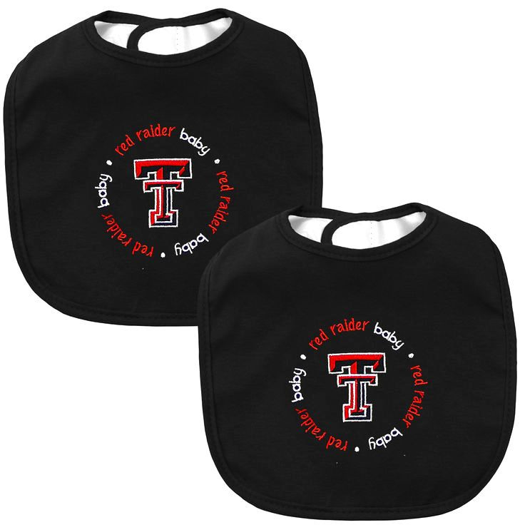 Texas Tech Red Raiders Infant 2-Pack Baby Bibs – Black - $11.99