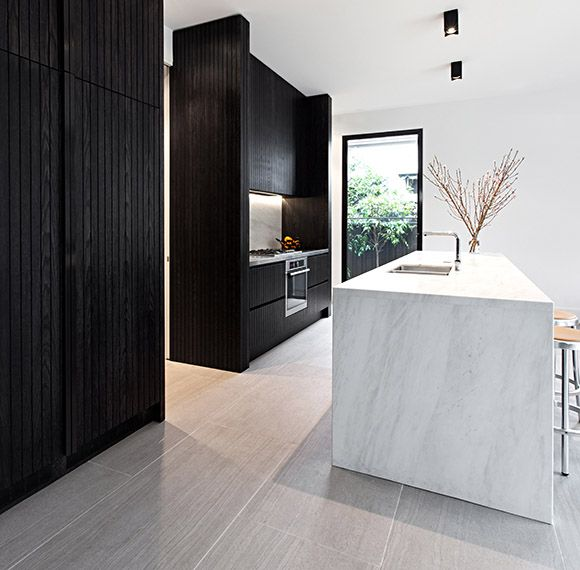 Lombard & Jack | white marble + black cabinetry