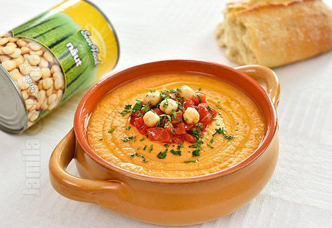 Hummus cu ardei copti – reteta video via @JamilaCuisine