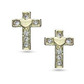 D/VVS1 Simulated Diamond Cross Heart Earrings in Solid 10K Yellow Gold by JewelryHub on Opensky