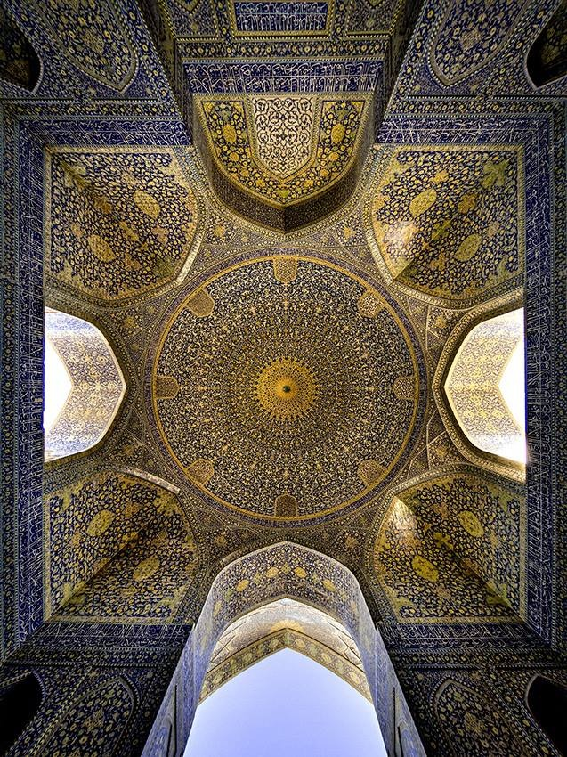 """Shah Mosque . Opened in 1629 . Persian origins . Located in Isfahan, Iran . Victoria and Albert Museum . Renamed """"Imam Mosque"""" after the 1979 Islamic revolution in Iran. Standing in south side of Naghsh-e Jahan Square."""