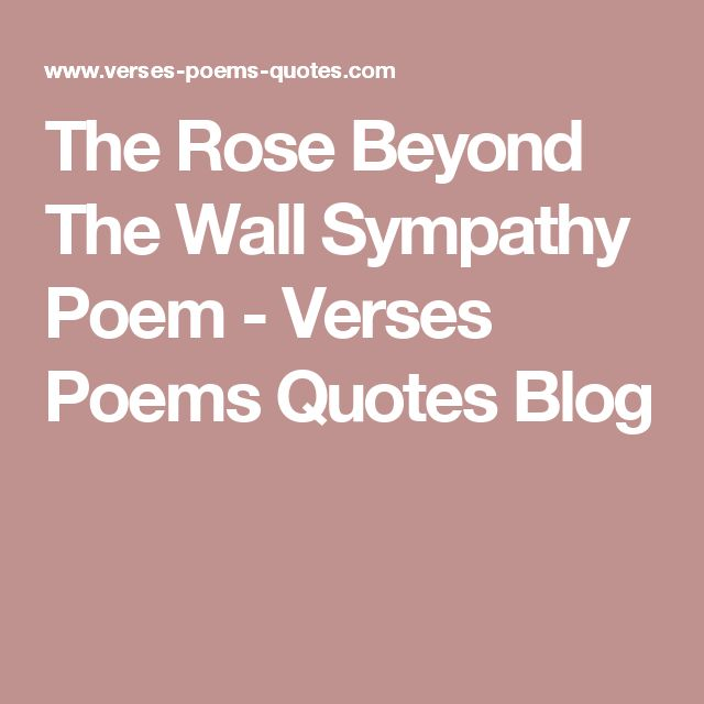 The Rose Beyond The Wall Sympathy Poem - Verses Poems Quotes Blog