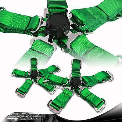 2pcs JDM Green 5 point Camlock Safety Harness Sport Racing Seat Belt Universal 2