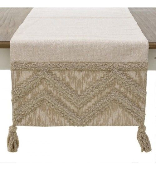 FABRIC TABLE RUNNER IN CREME COLOR 140X40