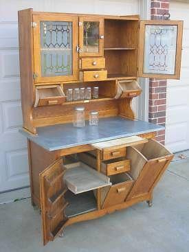 Early Oak Hoosier Style WILSON Bakers Cabinet w Glassware, Tilt Bins,Glass Doors