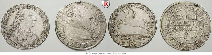 RITTER Braunschweig-Wolfenbüttel, 2 Münzen,24 Mariengroschen 1693,2/3 Taler 1763 #coins