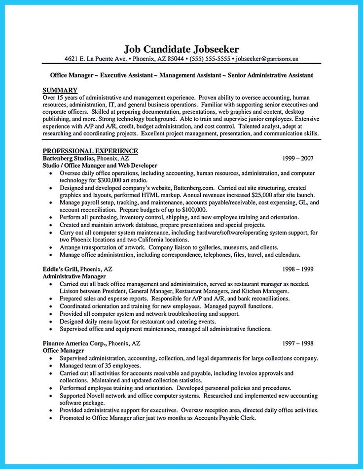 The 594 best Resume Samples images on Pinterest Resume templates - example administrative assistant resume