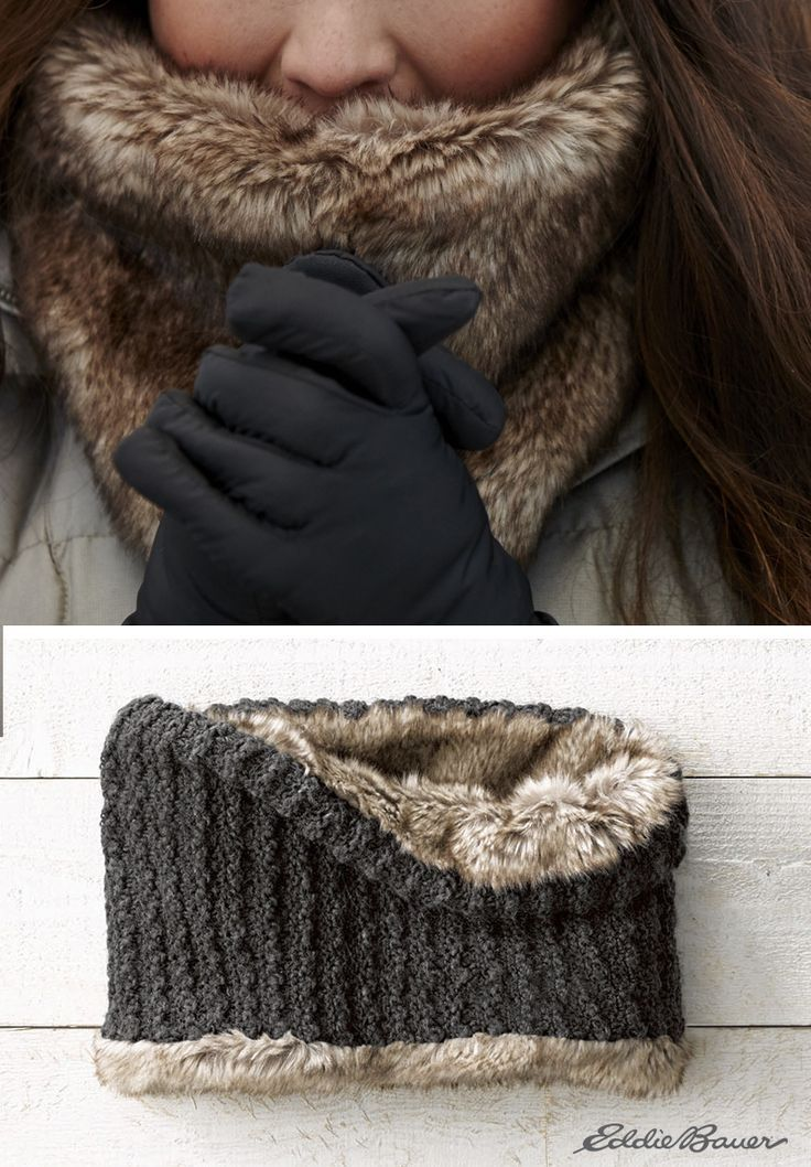 Faux fur/knit reversible cowl