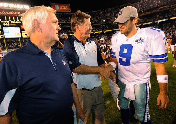 Tony Romo Photos Photos - Head coach Norv Turner (C) of the San Diego Chargers greets quarterback Tony Romo #9 (L) of the Dallas Cowboys as head coach Wade Phillips of the Dallas Cowboys looks on after their pre-season NFL football game at Qualcomm Stadium on August 21, 2010 in San Diego, California. - Dallas Cowboys v San Diego Chargers