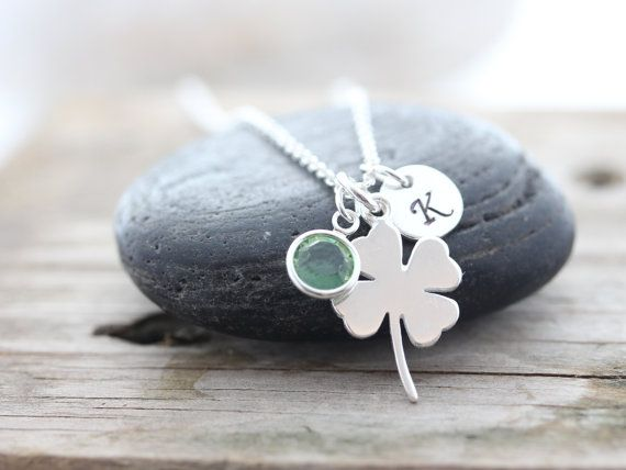STERLING Silver Clover Necklace personalized with Birthstone-SHAMROCK, Four Leaf Necklace, Good luck Irish jewelry, Gift ideas on Etsy, $27.80
