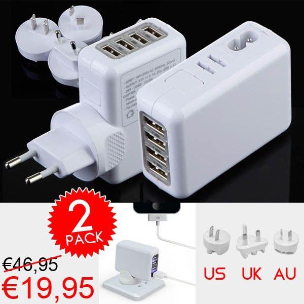 Reisopladers met 4 USB poorten voor €19.95! www.euro2deal.nl