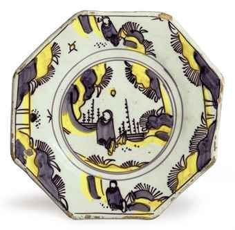 An English Delft chinoiserie octogonal plate, last quarter of the 17th century, London, Bristol or Brislington