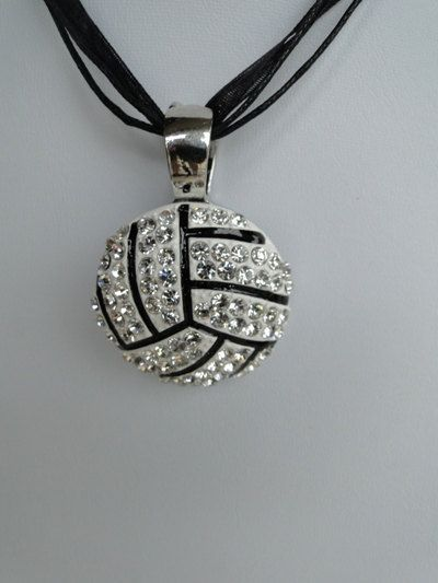 Volleyball Rhinestone Pendant  Magnetic / check it out at www.texasredheadboutique.etsy.com