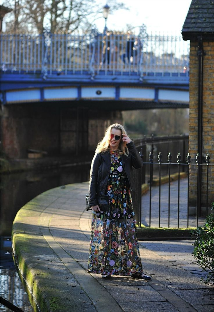 Sheer floral gown, styled down with flats and a biker jacket.