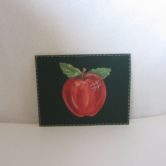 Small single blank card.  Red apple card.  Size A2 envelope
