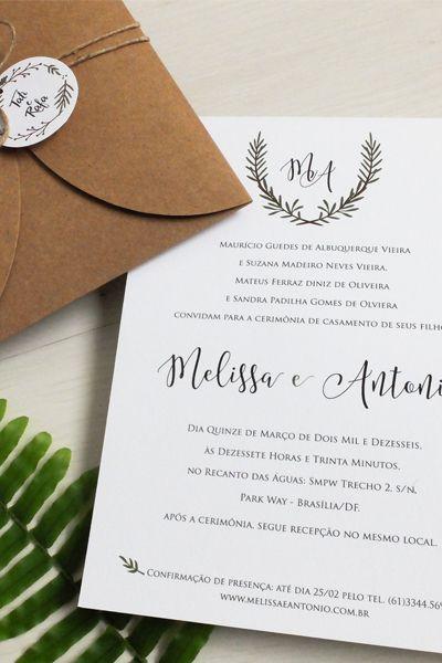 convite casamento rustico guirlanda kraft