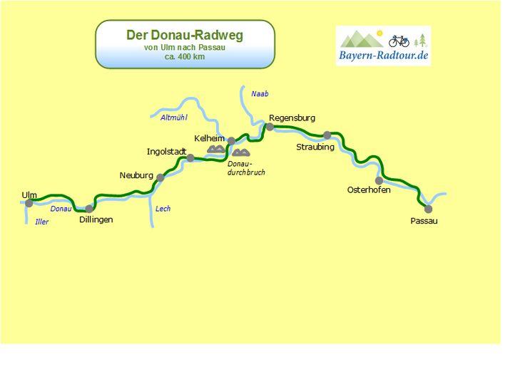 Karte Donau Radweg Ulm Passau