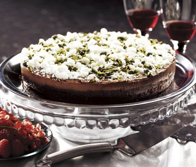 Chocolate mousse cake with meringue & pistachios