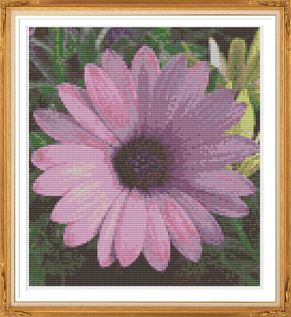 Gerbera Daisy Cross Stitch Pattern  Purple by LighthouseGems, £3.50