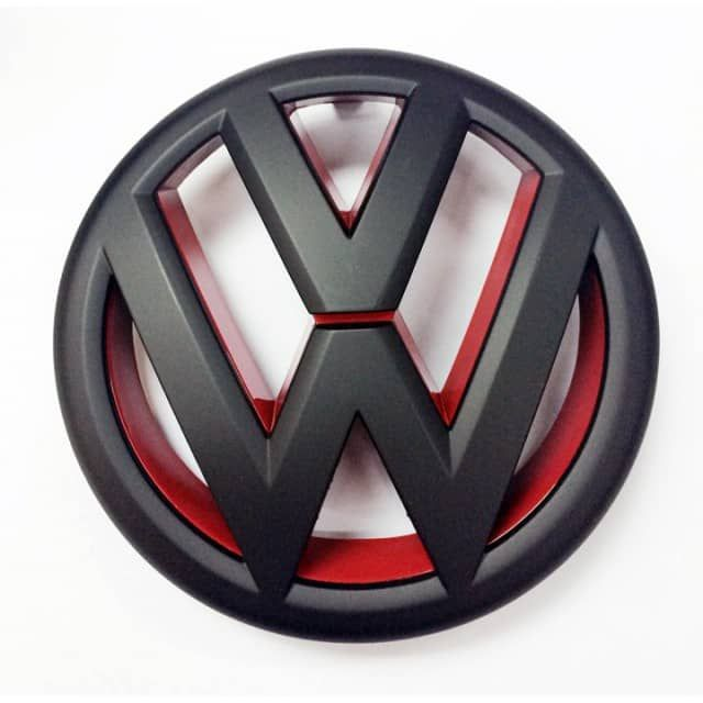 High quality aftermarket emblem that simply replaces the factory one. Snaps on the front grille for quick installation, just simply remove the stock emblem and replace with this one. Comes in Gloss Black Red or Matte Black Red finsih, please choose from option menu. Dimension is 130 mm. 	  	DOES NOT FIT THE JETTA SPORTWAGEN 	 FREE SHIPPING WORLDWIDE