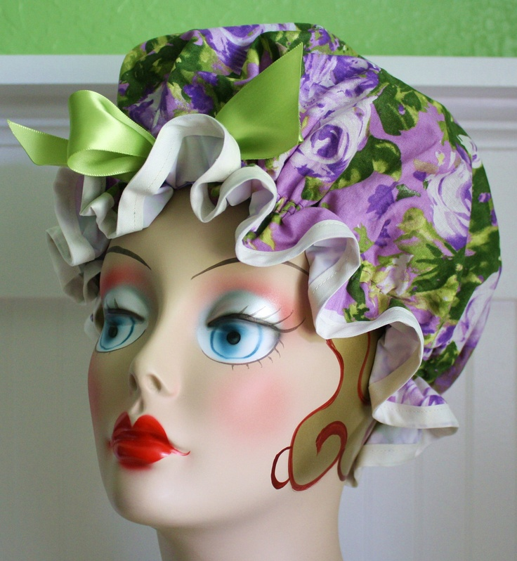 "Shower Cap Women's Waterproof Washable ""Shabby Roses Lavender"". $18.00, via Etsy."