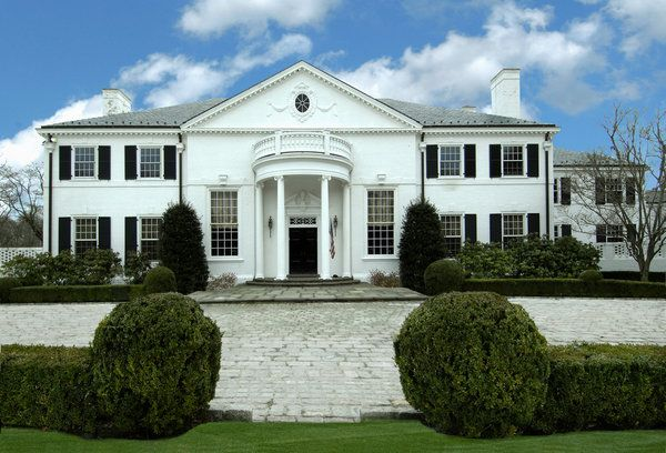 """Donald Trump bought Haroldyn House in Greenwich, Connecticut, a 20,000 square-foot, 45-room house on a private peninsula in 1982 (& lost it in his 1991 divorce with first wife Ivana). It features a three-story rotunda with """"butterfly"""" staircases, outdoor & indoor pools, a bowling alley, tennis court & guest house. As of January 2015, it is now on the market with an asking price of $54 million. The waterfront mansion sits on roughly 6 acres of land near the tip of Indian Harbor Point"""