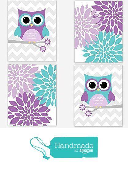 Girl Nursery Wall Art Purple Lavender Teal Owls Flower Burst Dahlia Mums Modern Floral Gray Chevron Toddler Bedroom Baby Nursery Decor SET OF 4 UNFRAMED PRINTS from Dezignerheart Designs http://www.amazon.com/dp/B016CJ80L8/ref=hnd_sw_r_pi_dp_a8bGwb0HW3QBN #handmadeatamazon