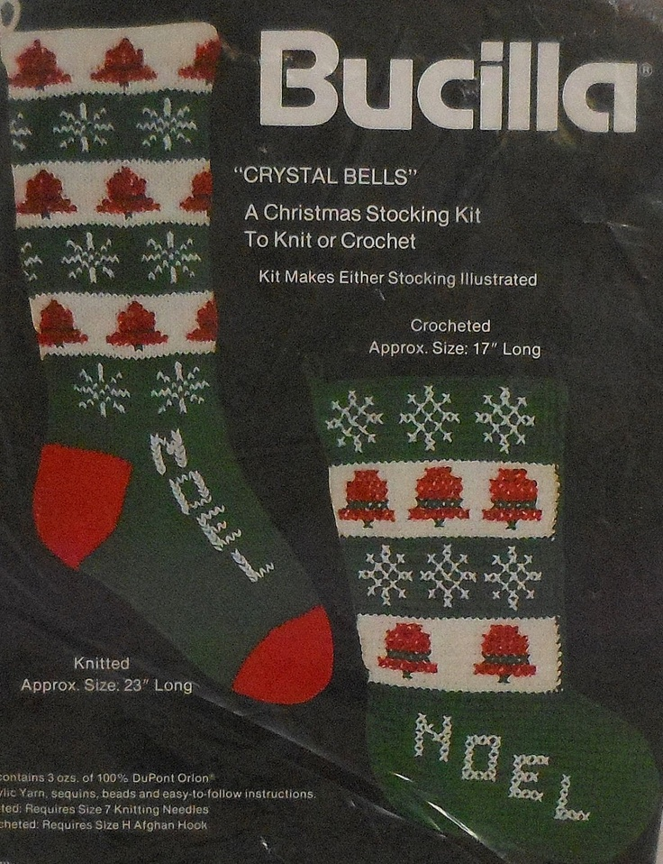 Vintage Christmas Stocking Knitting Pattern : Vintage Bucilla Christmas Stocking Knitting and Crochet Pattern Kit Stockin...