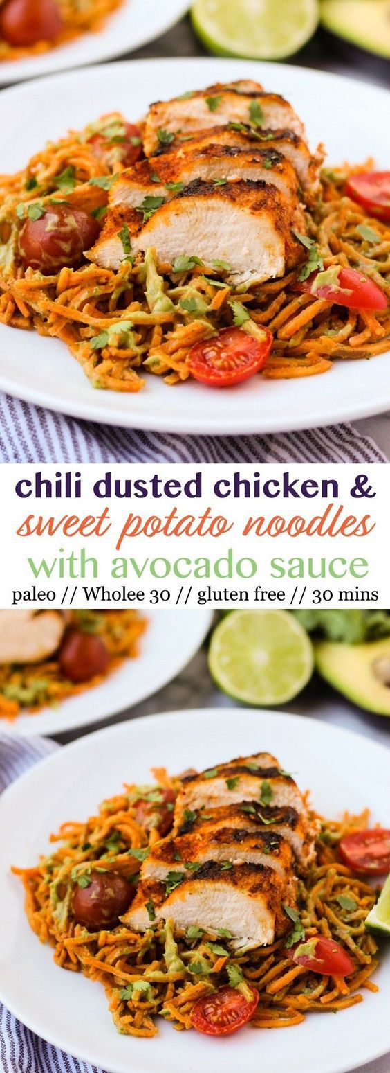 Chili Dusted Chicken & Sweet Potato Noodles with Avocado Sauce #Main Dish#Paleo#…