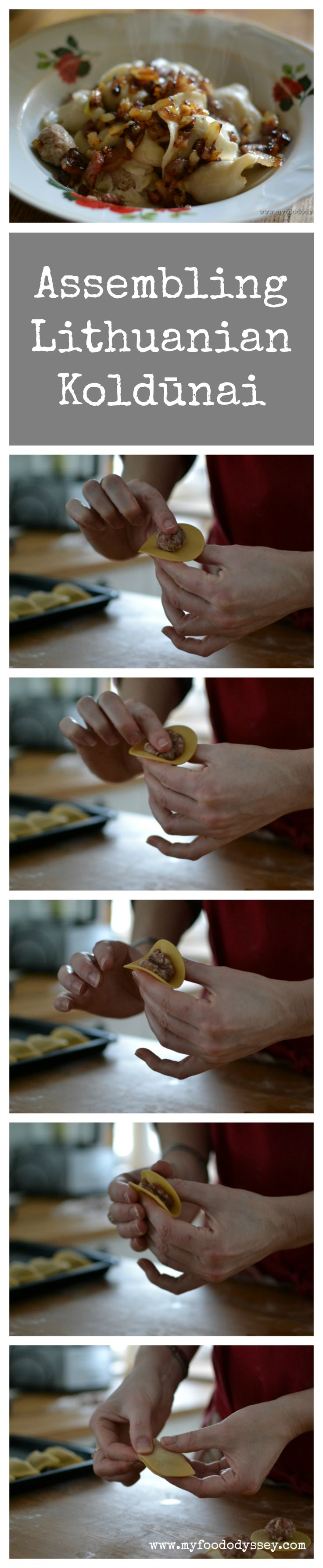 Step-by-step recipe for Lithuanian Koldunai, which are meat dumplings similar to…