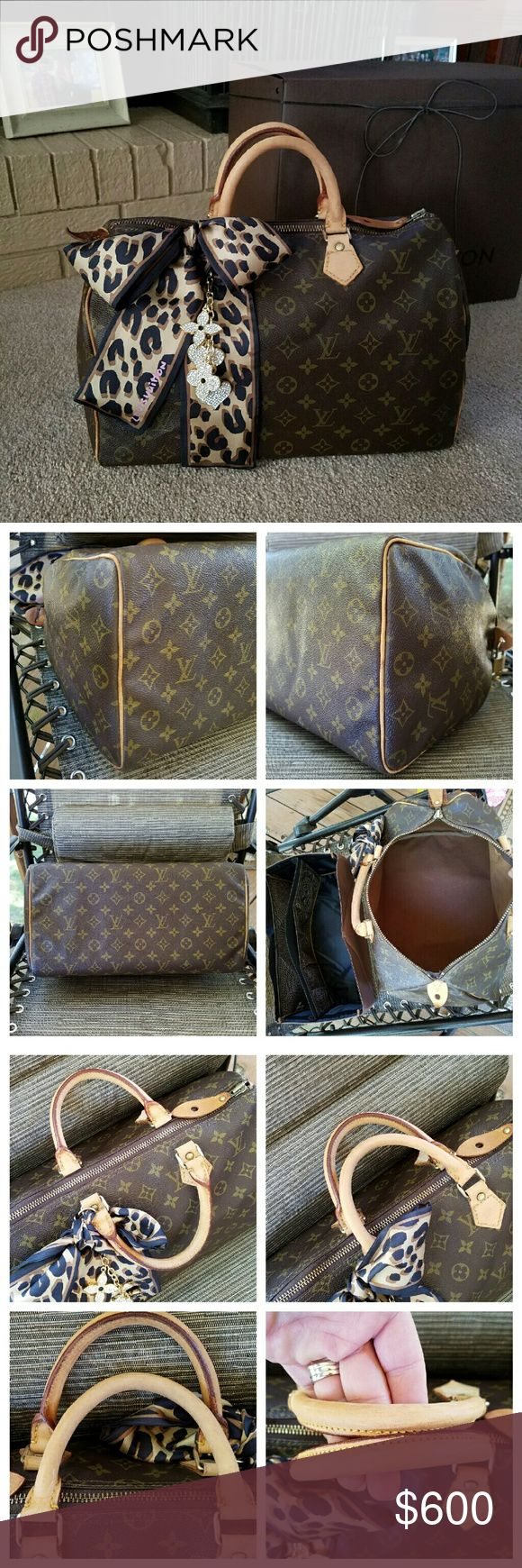 Louis Vuitton Speedy 35 Authentic 822SA Excellent Used Condtn Handles look great Vachetta-light patina zipper replaced(not byLV)=STILL HAS ORIGNL LV zipper Slide&pull.He broke side tab&fixd it poorly as shown.replace it for $50-or buy a cover for 15 I Added Lock/Key+FREE SCARF (notLV) light wear on trim piping area but not major or bad @all.u shuld not expect a new bag at this price,its a Vintage Hardware shiny! THIS IS A STEAL!  SEL TRADEs TRADE VAL700min *HAS 2 LISTINGS SHAPER&BOX SOLD…