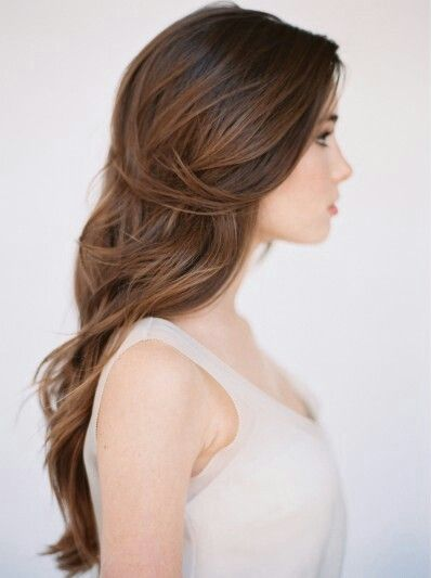 inspiration   long, loosely curled hair