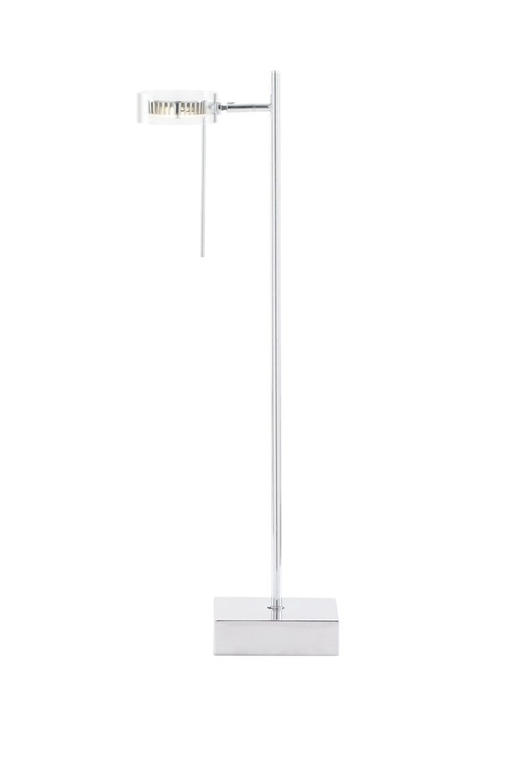 The minimalist Lucie range by Ella Gill 2013. It slender chromed stem is capped with and Multi-directional pivoting reflector. Makes a great desk light.