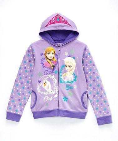 Another great find on #zulily! Purple 'Anna', 'Elsa' & 'Olaf' Zip-Up Hoodie - Girls #zulilyfinds