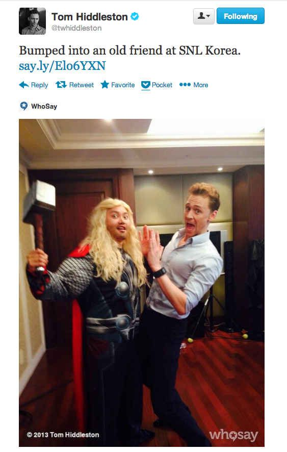 Never change, Tom Hiddleston. Never change.