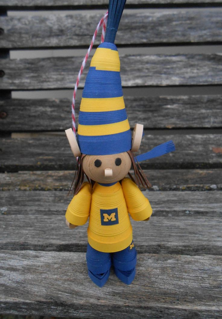 Michigan Elf Ornament. Or CHOOSE YOUR SCHOOL. Statue. Unique Gift, Quilled Paper. Christmas, Birthday, First Anniversary, Present by JustCyndy on Etsy