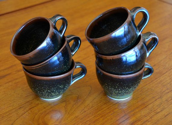 Black Tea Cup Set, Hand Thrown Porcelain Pottery, Ceramic Coffee Cups | CaldwellPottery