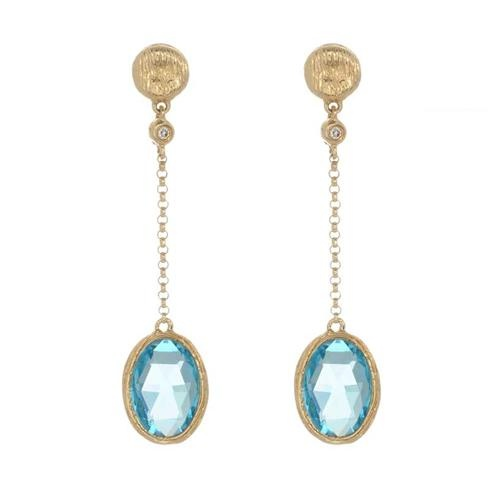 Greenwich Collection dangling blue topaz earrings in yellow gold, at Greenwich Jewelers  $390