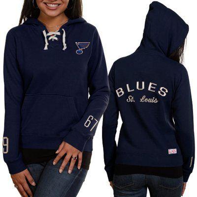 Old Time Hockey St. Louis Blues Ladies Navy Blue Queensboro Lace-Up Pullover Hoodie Sweatshirt