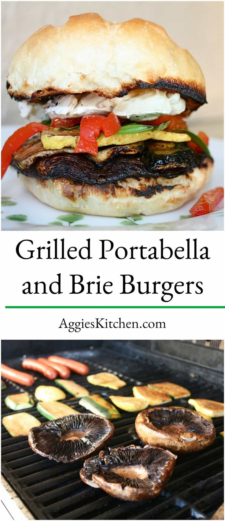 Enjoy Grilled Portabella and Brie Burgers for a vegetarian burger option! Vegetables are marinated in balsamic vinegar then grilled to perfection! via @aggieskitchen