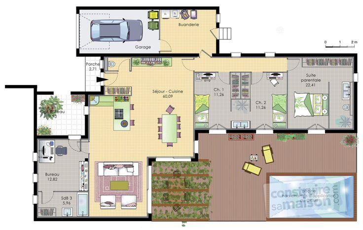 17 best images about plan maison on Pinterest Dressing, Garages - plan de maison de 100m2 plein pied