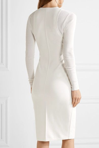 Narciso Rodriguez - Ribbed-paneled Stretch-knit Dress - Ivory