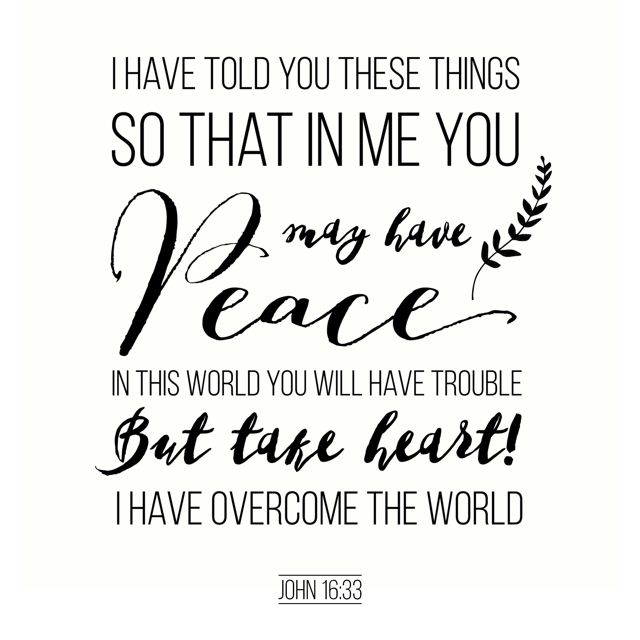 """These things I have spoken unto you, that in me ye might have peace. In the world ye shall have tribulation: but be of good cheer; I have overcome the world."" ‭‭John‬ ‭16:33‬ ‭KJV‬‬ http://bible.com/1/jhn.16.33.kjv"