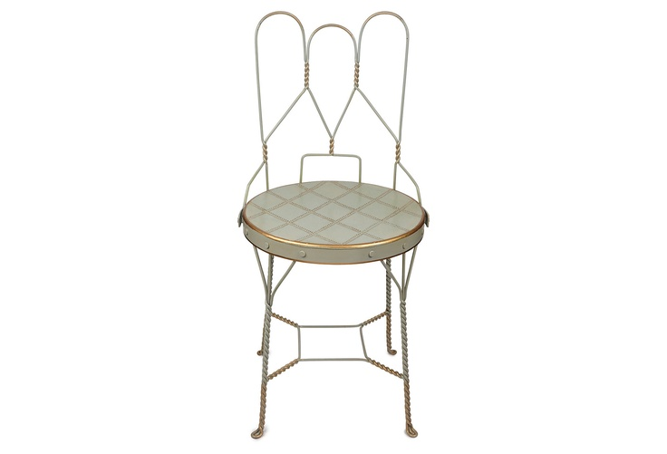 One Kings Lane - Southern Hospitality - Folding Garden Chair, Blue/Gold