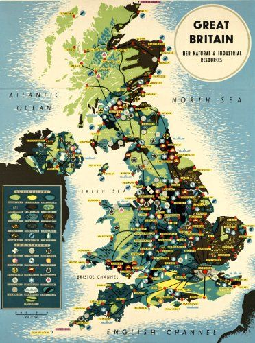 25 best uk ireland vintage travel poster prints images on her natural and industrial resources infographic map of great britain made in late at boston public library title great britain gumiabroncs Image collections
