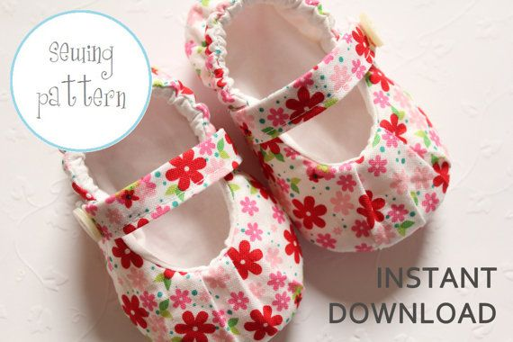 Baby Shoe Pattern - MaryJanes with Ruching - INSTANT DOWNLOAD via Etsy