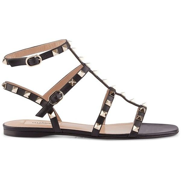 Valentino Flat Rockstud Sandal (1.920 BRL) ❤ liked on Polyvore featuring shoes, sandals, going out shoes, studded shoes, flat sandals, party sandals and valentino sandals