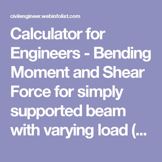 Calculator for Engineers - Bending Moment and Shear Force for simply supported beam with varying load (trapezoidal) of different intensities